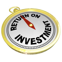 "A gold watch with the words ""return on investment"" written on the face to signify the huge revenue to be made with expert SEO."