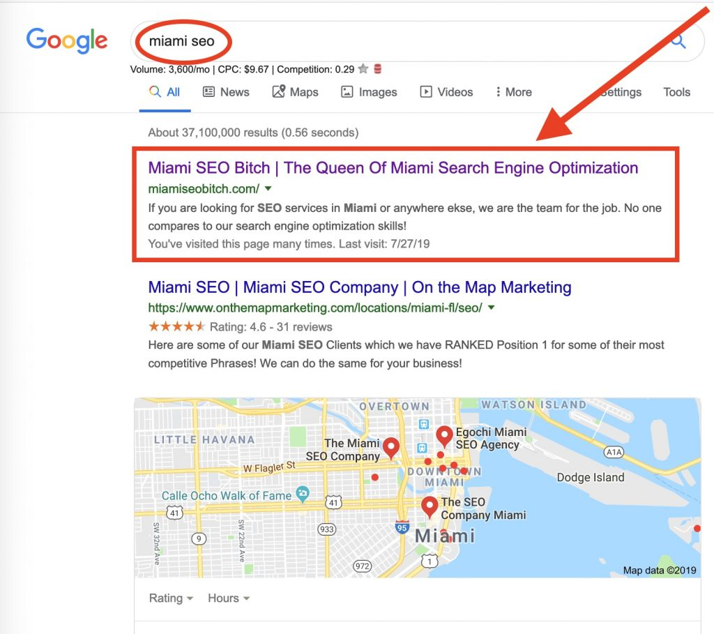 Screenshot of Google search results page shows our local SEO experts ranking on Page 1, Position 1 for the keyword.