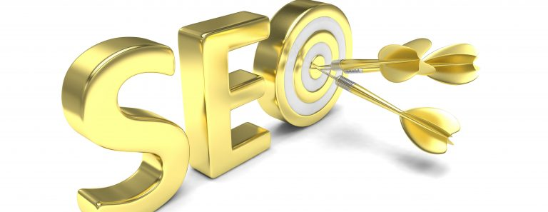 "The letters ""SEO"" in gold with three arrows hitting the bullseye in the ""O"" representing expert search results."