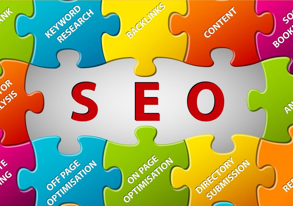 Puzzle image depicting different techniques of seo