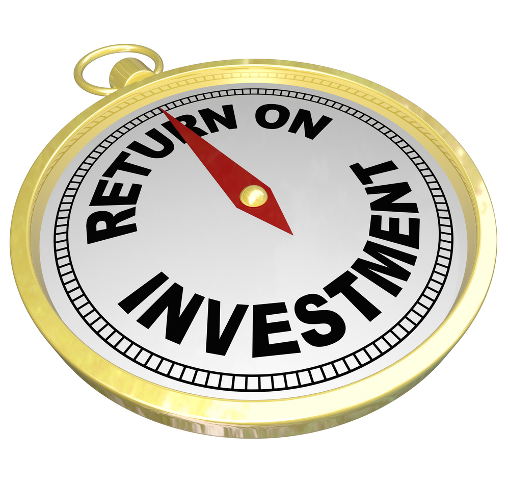 "Image of a gold watch that says ""return on investment"" on its face to symbolize the rise in revenue you can get with expert search engine marketing."